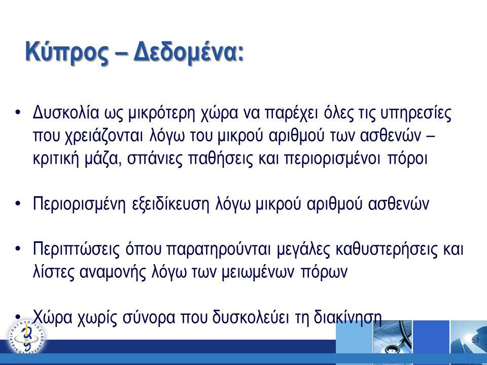 Κύπρος – Δεδομένα:. Δυσκολία ως μικρότερη χώρα να παρέχει όλες τις υπηρεσίες που χρειάζονται λόγω του μικρού αριθμού των ασθενών – κριτική μάζα, σπάνι