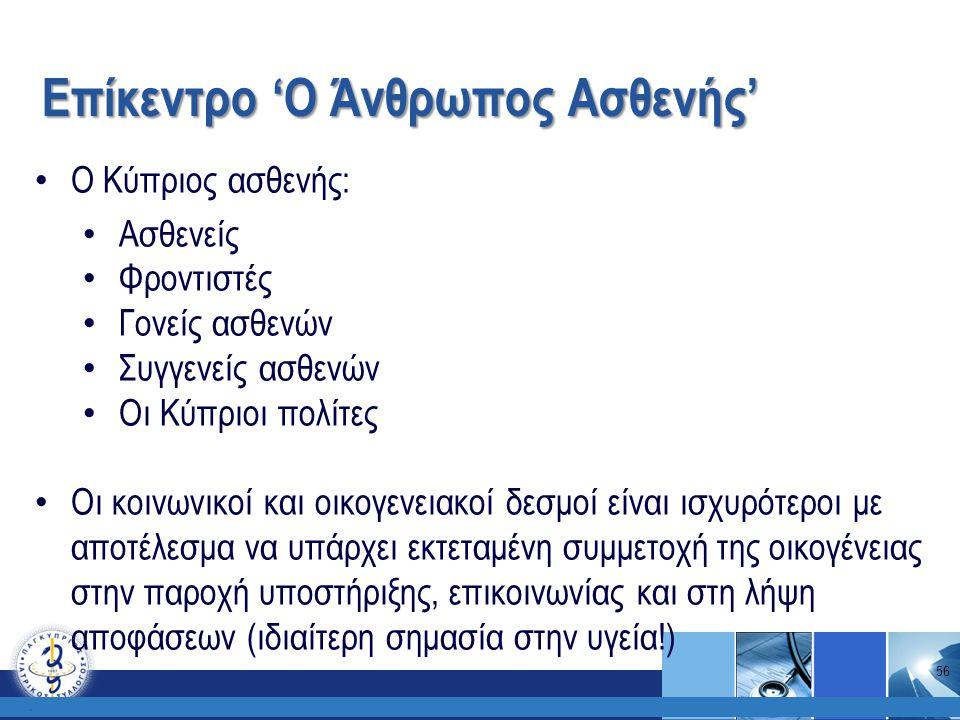 Επίκεντρο 'Ο Άνθρωπος Ασθενής'. Ο Κύπριος ασθενής: Ασθενείς Φροντιστές Γονείς ασθενών Συγγενείς ασθενών Οι Κύπριοι πολίτες Οι κοινωνικοί και οικογενει