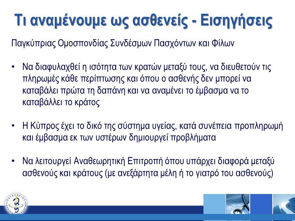 Τι αναμένουμε ως ασθενείς - Εισηγήσεις. Παγκύπριας Ομοσπονδίας Συνδέσμων Πασχόντων και Φίλων Να διαφυλαχθεί η ισότητα των κρατών μεταξύ τους, να διευθ