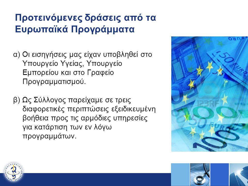 Προτεινόμενες δράσεις από τα Ευρωπαϊκά Προγράμματα α) Οι εισηγήσεις μας είχαν υποβληθεί στο Υπουργείο Υγείας, Υπουργείο Εμπορείου και στο Γραφείο Προγ