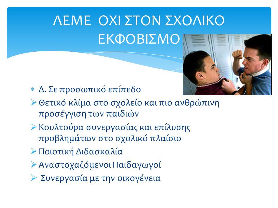  Δ. Σε προσωπικό επίπεδο  Θετικό κλίμα στο σχολείο και πιο ανθρώπινη προσέγγιση των παιδιών  Κουλτούρα συνεργασίας και επίλυσης προβλημάτων στο σχο