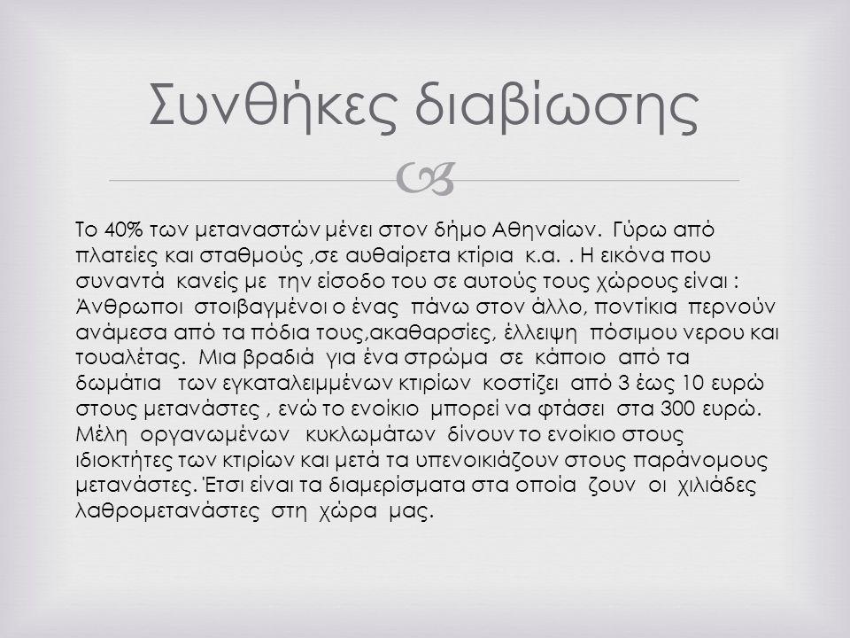  Συνθήκες διαβίωσης Το 40% των μεταναστών μένει στον δήμο Αθηναίων.