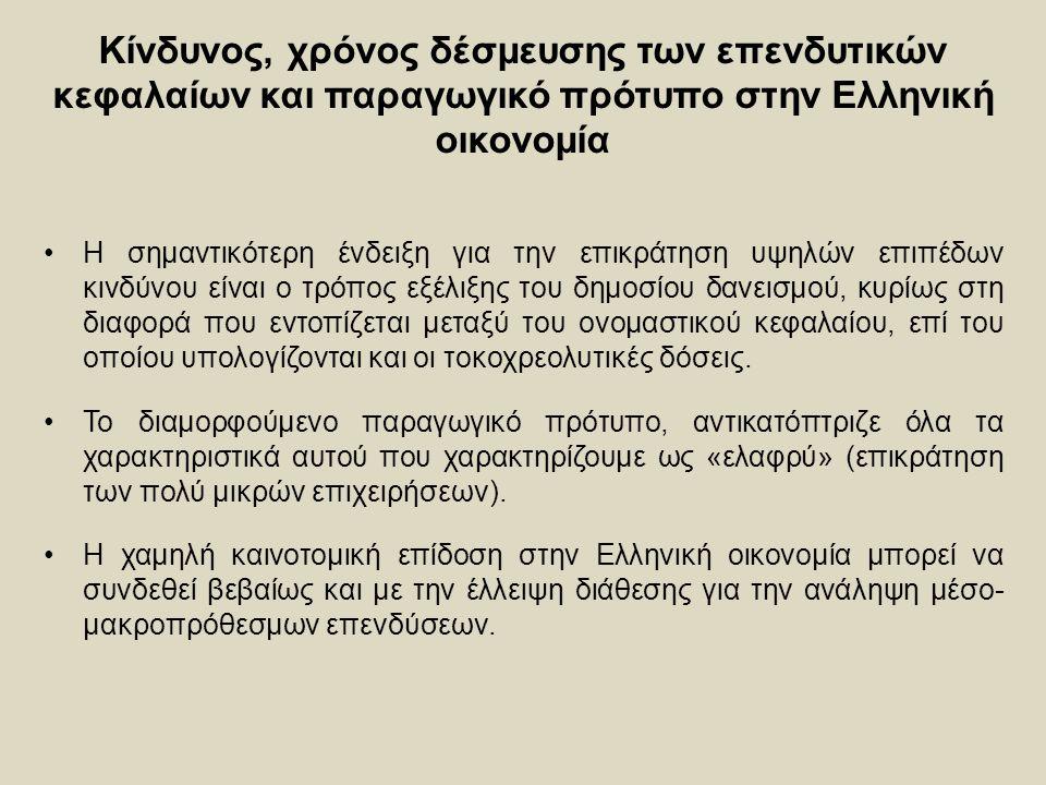 Κίνδυνος, χρόνος δέσμευσης των επενδυτικών κεφαλαίων και παραγωγικό πρότυπο στην Ελληνική οικονομία Η σημαντικότερη ένδειξη για την επικράτηση υψηλών επιπέδων κινδύνου είναι ο τρόπος εξέλιξης του δημοσίου δανεισμού, κυρίως στη διαφορά που εντοπίζεται μεταξύ του ονομαστικού κεφαλαίου, επί του οποίου υπολογίζονται και οι τοκοχρεολυτικές δόσεις.
