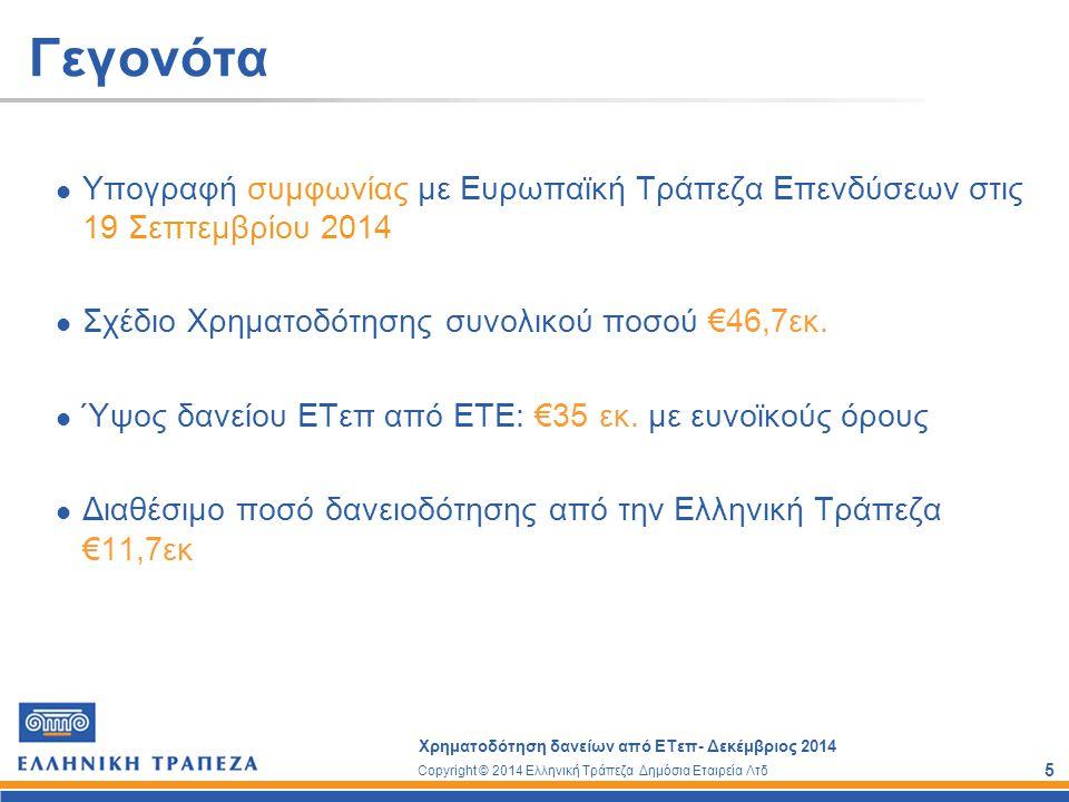 Copyright © 2014 Ελληνική Τράπεζα Δημόσια Εταιρεία Λτδ Χρηματοδότηση δανείων από ΕΤεπ- Δεκέμβριος 2014 6 Ευρωπαϊκή Τράπεζα Επενδύσεων Ιδρύθηκε το 1958 με τη Συνθήκη της Ρώμης Αποτελεί το χρηματοδοτικό οργανισμό της Ευρωπαϊκής Ένωσης Πολύπλευρη δραστηριότητα Κύριος στόχος η χρηματοδότηση επενδύσεων που συμβάλουν στην ενίσχυση της οικονομικής και κοινωνικής συνοχής της Ευρωπαϊκής Ένωσης Μακροχρόνια συνεργασία με Τραπεζικά Ιδρύματα Ε.Ε.