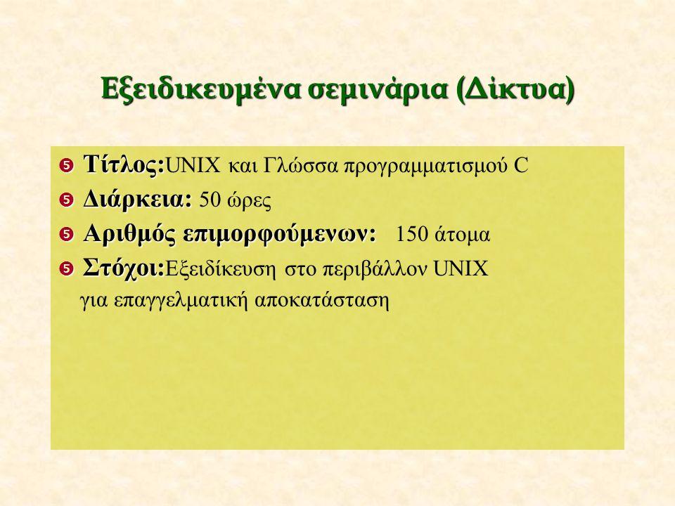 Εξειδικευμένα σεμινάρια (Δίκτυα)  Τίτλος:  Τίτλος: UNIX και Γλώσσα προγραμματισμού C  Διάρκεια:  Διάρκεια: 50 ώρες  Αριθμόςεπιμορφούμενων:  Αριθμός επιμορφούμενων: 150 άτομα  Στόχοι:  Στόχοι: Εξειδίκευση στο περιβάλλον UNIX για επαγγελματική αποκατάσταση