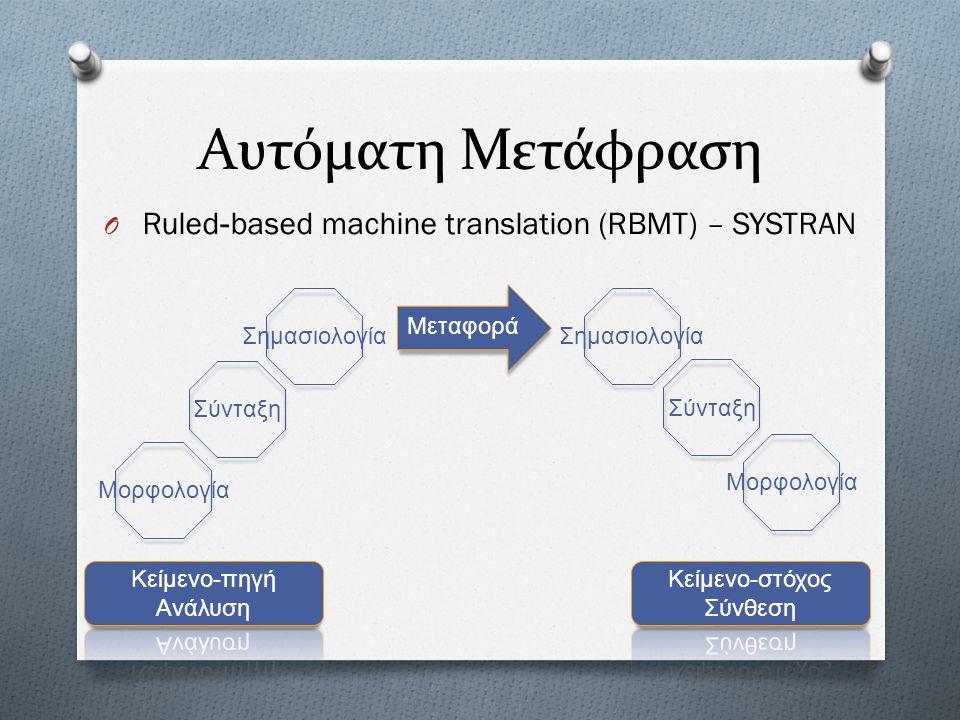 Αυτόματη Μετάφραση O Statistical Machine Translation (SMT) O Παράλληλα σώματα κειμένων (parallel corpus) – +1.000.000 λέξεις O 2 μονόγλωσσα σώματα κειμένων – +1 δις λέξεις το καθένα Στατιστικά μοντέλα Προβλήματα : O Ευθυγράμμιση προτάσεων (Sentence alignement) O Σύνθετες λέξεις και ιδιωματικές εκφράσεις O Μορφολογικοί τύποι O Σύνταξη