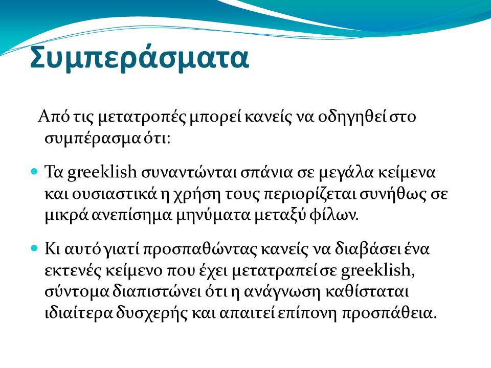 Συμπεράσματα Από τις μετατροπές μπορεί κανείς να οδηγηθεί στο συμπέρασμα ότι: Τα greeklish συναντώνται σπάνια σε μεγάλα κείμενα και ουσιαστικά η χρήση τους περιορίζεται συνήθως σε μικρά ανεπίσημα μηνύματα μεταξύ φίλων.