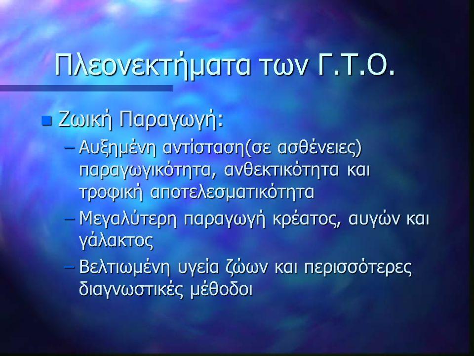 Πλεονεκτήματα των Γ.Τ.Ο.