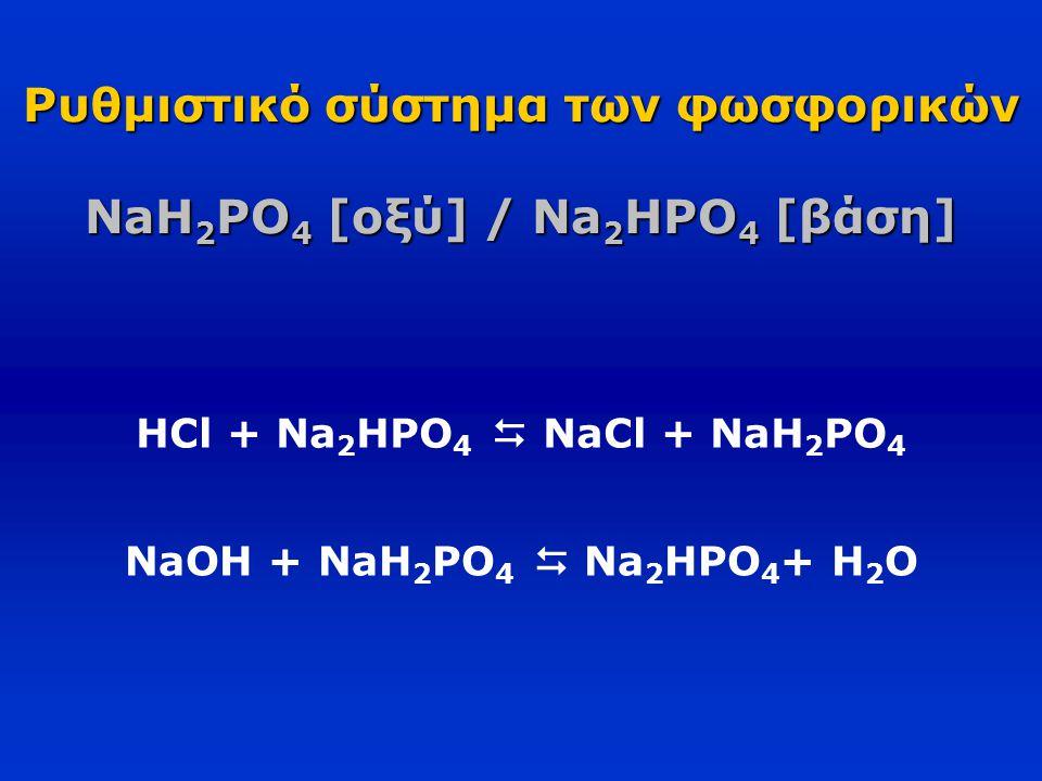 Ρυθμιστικό σύστημα των φωσφορικών NaH 2 PO 4 [οξύ] / Na 2 HPO 4 [βάση] HCl + Na 2 HPO 4  NaCl + NaH 2 PO 4 NaOH + NaH 2 PO 4  Na 2 HPO 4 + H 2 O
