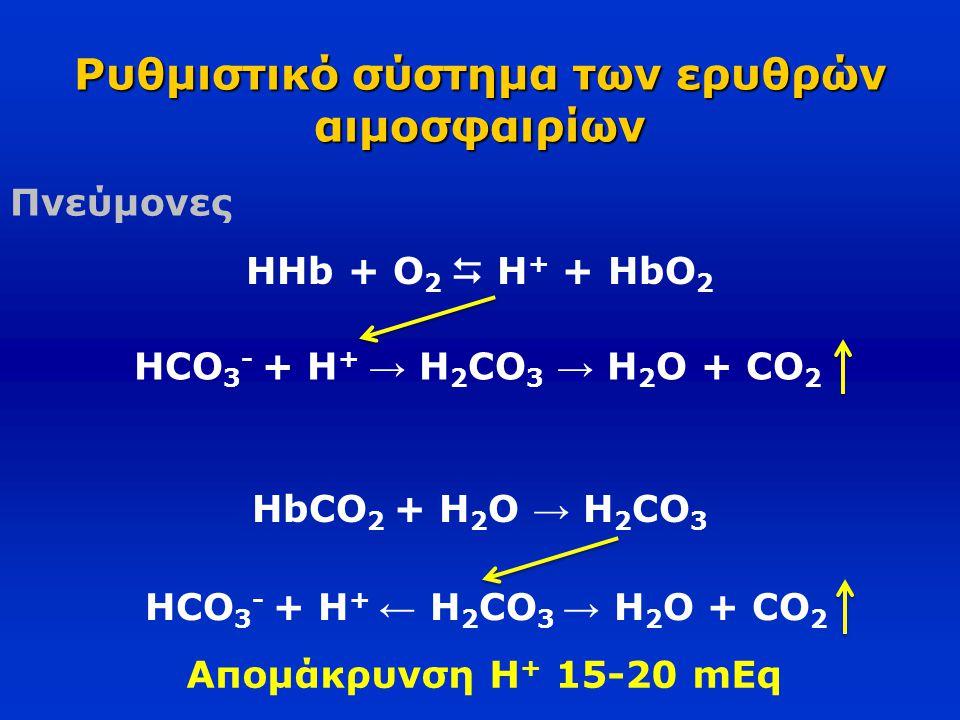 Ρυθμιστικό σύστημα των ερυθρών αιμοσφαιρίων Πνεύμονες HHb + O 2  H + + HbO 2 HCO 3 - + H + → H 2 CO 3 → Η 2 O + CO 2 HbCO 2 + Η 2 O → H 2 CO 3 HCO 3