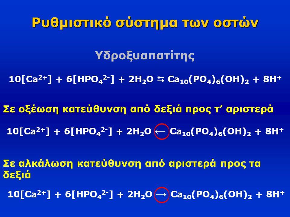 Ρυθμιστικό σύστημα των οστών 10[Ca 2+ ] + 6[HPO 4 2- ] + 2H 2 O  Ca 10 (PO 4 ) 6 (OH) 2 + 8H + Σε οξέωση κατεύθυνση από δεξιά προς τ' αριστερά 10[Ca