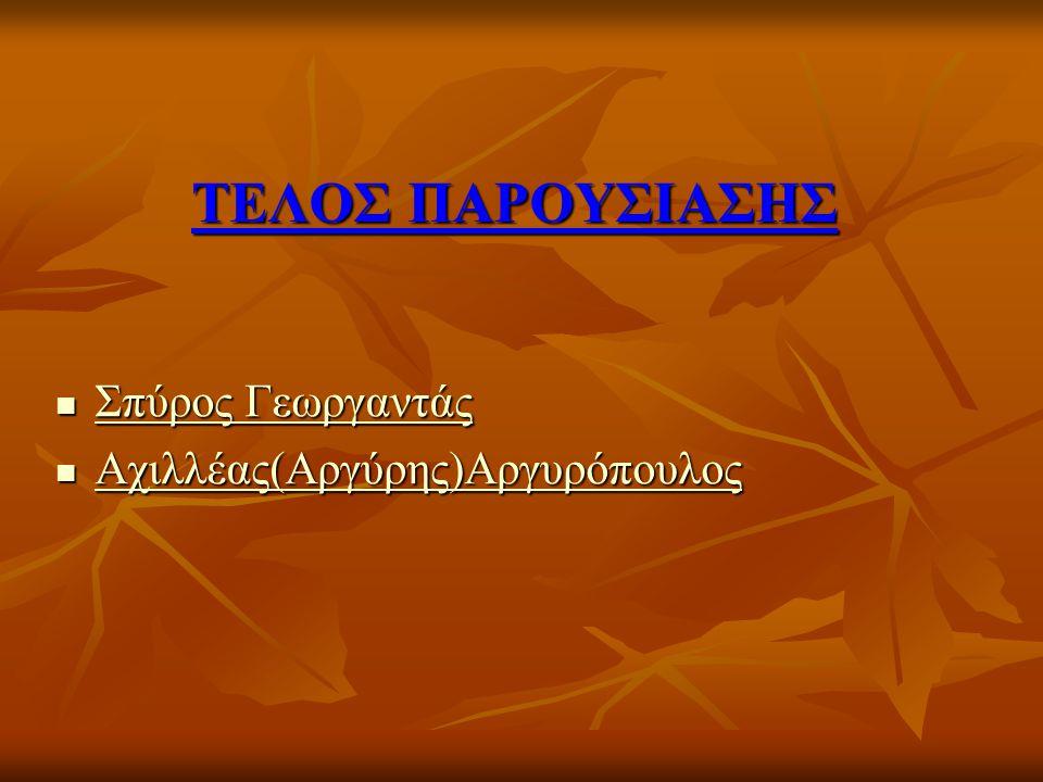 ΤΕΛΟΣ ΠΑΡΟΥΣΙΑΣΗΣ Σπύρος Γεωργαντάς Σπύρος Γεωργαντάς Σπύρος Γεωργαντάς Σπύρος Γεωργαντάς Αχιλλέας(Αργύρης)Αργυρόπουλος Αχιλλέας(Αργύρης)Αργυρόπουλος Αχιλλέας(Αργύρης)Αργυρόπουλος