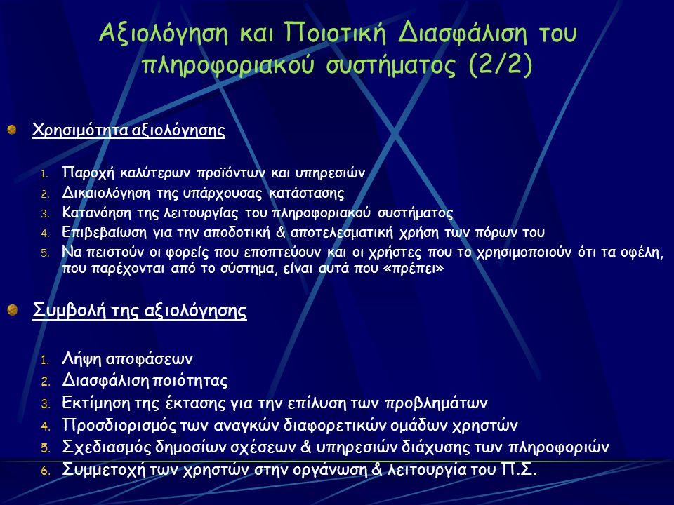 Αξιολόγηση και Ποιοτική Διασφάλιση του πληροφοριακού συστήματος (2/2) Χρησιμότητα αξιολόγησης 1.