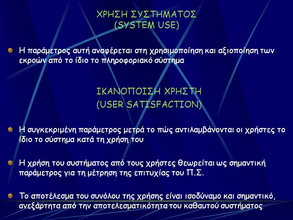 ΧΡΗΣΗ ΣΥΣΤΗΜΑΤΟΣ (SYSTEM USE) Η παράμετρος αυτή αναφέρεται στη χρησιμοποίηση και αξιοποίηση των εκροών από το ίδιο το πληροφοριακό σύστημα ΙΚΑΝΟΠΟΙΣΗ ΧΡΗΣΤΗ (USER SATISFACTION) Η συγκεκριμένη παράμετρος μετρά το πώς αντιλαμβάνονται οι χρήστες το ίδιο το σύστημα κατά τη χρήση του Η χρήση του συστήματος από τους χρήστες θεωρείται ως σημαντική παράμετρος για τη μέτρηση της επιτυχίας του Π.Σ.