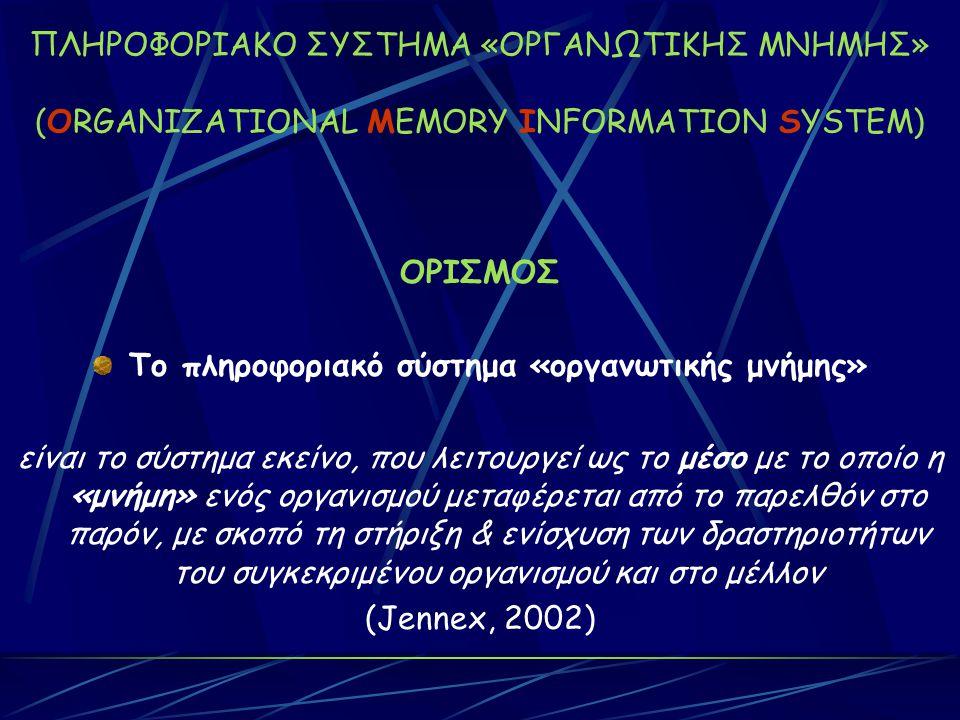ΠΛΗΡΟΦΟΡΙΑΚΟ ΣΥΣΤΗΜΑ «ΟΡΓΑΝΩΤΙΚΗΣ ΜΝΗΜΗΣ» (ORGANIZATIONAL MEMORY INFORMATION SYSTEM) ΟΡΙΣΜΟΣ Το πληροφοριακό σύστημα «οργανωτικής μνήμης» είναι το σύστημα εκείνο, που λειτουργεί ως το μέσο με το οποίο η «μνήμη» ενός οργανισμού μεταφέρεται από το παρελθόν στο παρόν, με σκοπό τη στήριξη & ενίσχυση των δραστηριοτήτων του συγκεκριμένου οργανισμού και στο μέλλον (Jennex, 2002)