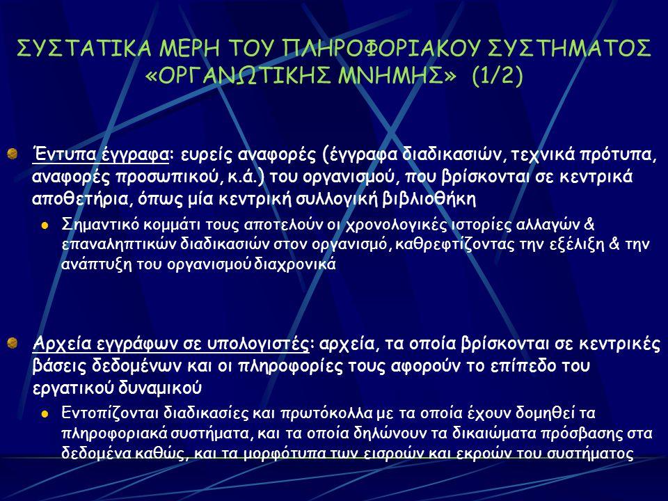 ΣΥΣΤΑΤΙΚΑ ΜΕΡΗ ΤΟΥ ΠΛΗΡΟΦΟΡΙΑΚΟΥ ΣΥΣΤΗΜΑΤΟΣ «ΟΡΓΑΝΩΤΙΚΗΣ ΜΝΗΜΗΣ» (1/2) Έντυπα έγγραφα: ευρείς αναφορές (έγγραφα διαδικασιών, τεχνικά πρότυπα, αναφορές προσωπικού, κ.ά.) του οργανισμού, που βρίσκονται σε κεντρικά αποθετήρια, όπως μία κεντρική συλλογική βιβλιοθήκη Σημαντικό κομμάτι τους αποτελούν οι χρονολογικές ιστορίες αλλαγών & επαναληπτικών διαδικασιών στον οργανισμό, καθρεφτίζοντας την εξέλιξη & την ανάπτυξη του οργανισμού διαχρονικά Αρχεία εγγράφων σε υπολογιστές: αρχεία, τα οποία βρίσκονται σε κεντρικές βάσεις δεδομένων και οι πληροφορίες τους αφορούν το επίπεδο του εργατικού δυναμικού Εντοπίζονται διαδικασίες και πρωτόκολλα με τα οποία έχουν δομηθεί τα πληροφοριακά συστήματα, και τα οποία δηλώνουν τα δικαιώματα πρόσβασης στα δεδομένα καθώς, και τα μορφότυπα των εισροών και εκροών του συστήματος