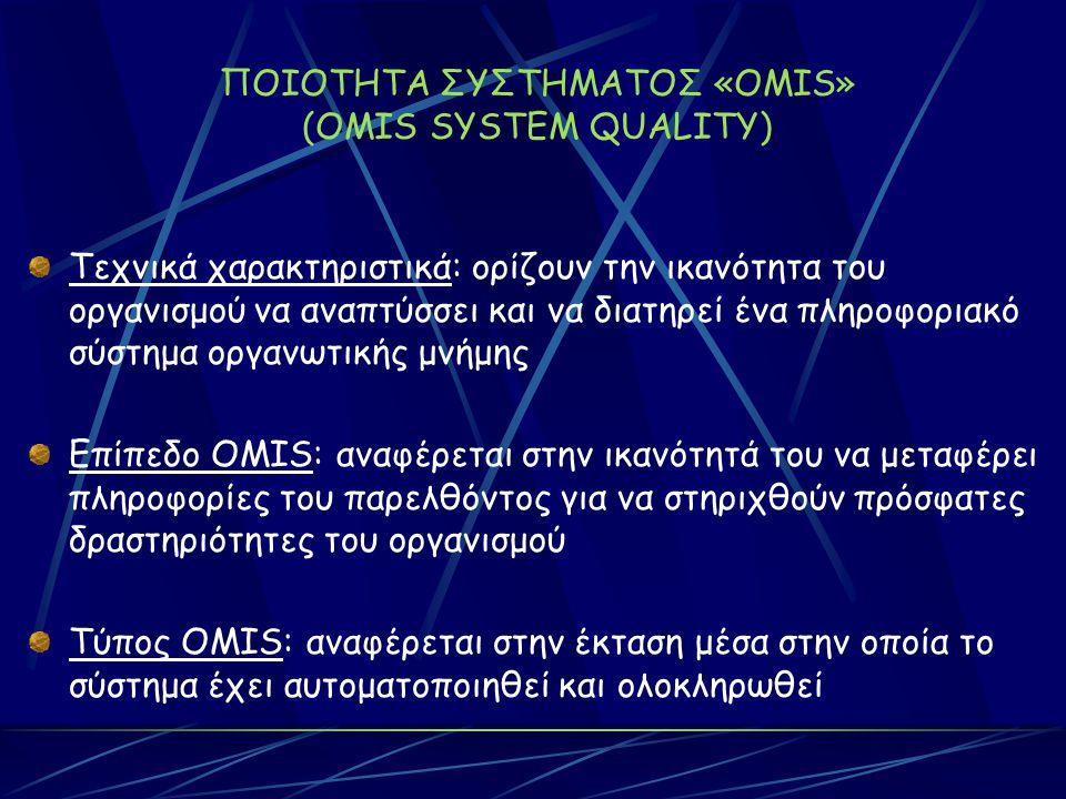 ΠΟΙΟΤΗΤΑ ΣΥΣΤΗΜΑΤΟΣ «OMIS» (OMIS SYSTEM QUALITY) Τεχνικά χαρακτηριστικά: ορίζουν την ικανότητα του οργανισμού να αναπτύσσει και να διατηρεί ένα πληροφοριακό σύστημα οργανωτικής μνήμης Επίπεδο OMIS: αναφέρεται στην ικανότητά του να μεταφέρει πληροφορίες του παρελθόντος για να στηριχθούν πρόσφατες δραστηριότητες του οργανισμού Τύπος OMIS: αναφέρεται στην έκταση μέσα στην οποία το σύστημα έχει αυτοματοποιηθεί και ολοκληρωθεί