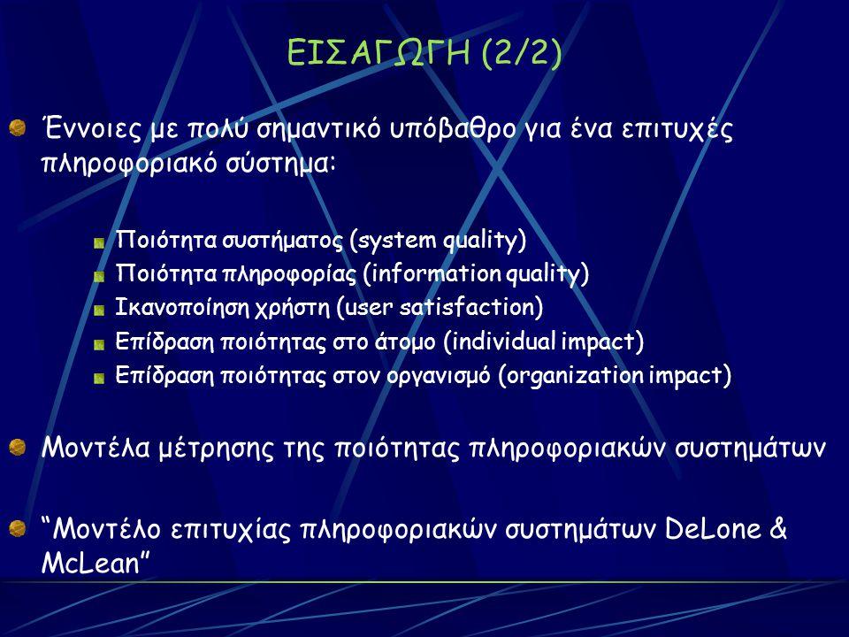 ΕΙΣΑΓΩΓΗ (2/2) Έννοιες με πολύ σημαντικό υπόβαθρο για ένα επιτυχές πληροφοριακό σύστημα: Ποιότητα συστήματος (system quality) Ποιότητα πληροφορίας (information quality) Ικανοποίηση χρήστη (user satisfaction) Επίδραση ποιότητας στο άτομο (individual impact) Επίδραση ποιότητας στον οργανισμό (organization impact) Μοντέλα μέτρησης της ποιότητας πληροφοριακών συστημάτων Μοντέλο επιτυχίας πληροφοριακών συστημάτων DeLone & McLean