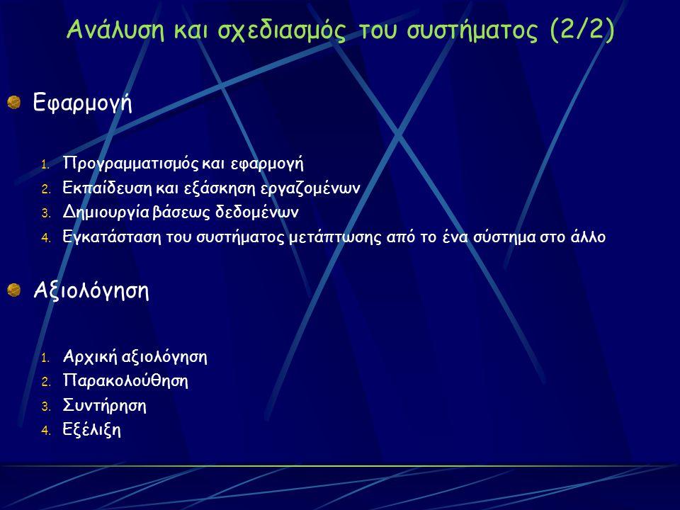Ανάλυση και σχεδιασμός του συστήματος (2/2) Εφαρμογή 1.