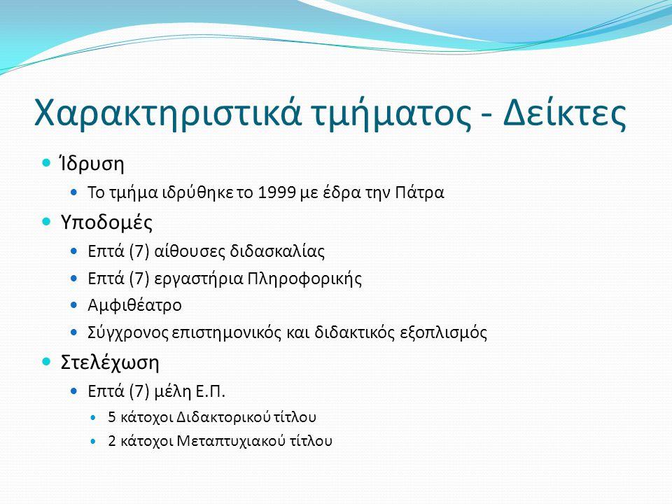 Χαρακτηριστικά τμήματος - Δείκτες Ίδρυση Το τμήμα ιδρύθηκε το 1999 με έδρα την Πάτρα Υποδομές Επτά (7) αίθουσες διδασκαλίας Επτά (7) εργαστήρια Πληροφ
