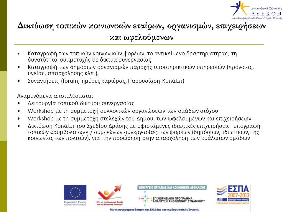 Δικτύωση τοπικών κοινωνικών εταίρων, οργανισμών, επιχειρήσεων και ωφελούμενων Καταγραφή των τοπικών κοινωνικών φορέων, το αντικείμενο δραστηριότητας, τη δυνατότητα συμμετοχής σε δίκτυα συνεργασίας Καταγραφή των δημόσιων οργανισμών παροχής υποστηρικτικών υπηρεσιών (πρόνοιας, υγείας, απασχόλησης κλπ.), Συναντήσεις (forum, ημέρες καριέρας, Παρουσίαση ΚοινΣΕπ) Αναμενόμενα αποτελέσματα: Λειτουργία τοπικού δικτύου συνεργασίας Workshop με τη συμμετοχή συλλογικών οργανώσεων των ομάδων στόχου Workshop με τη συμμετοχή στελεχών του Δήμου, των ωφελουμένων και επιχειρήσεων Δικτύωση ΚοινΣΕπ του Σχεδίου Δράσης με υφιστάμενες ιδιωτικές επιχειρήσεις –υπογραφή τοπικών «συμβολαίων» / συμφώνων συνεργασίας των φορέων (δημόσιων, ιδιωτικών, της κοινωνίας των πολιτών), για την προώθηση στην απασχόληση των ευάλωτων ομάδων