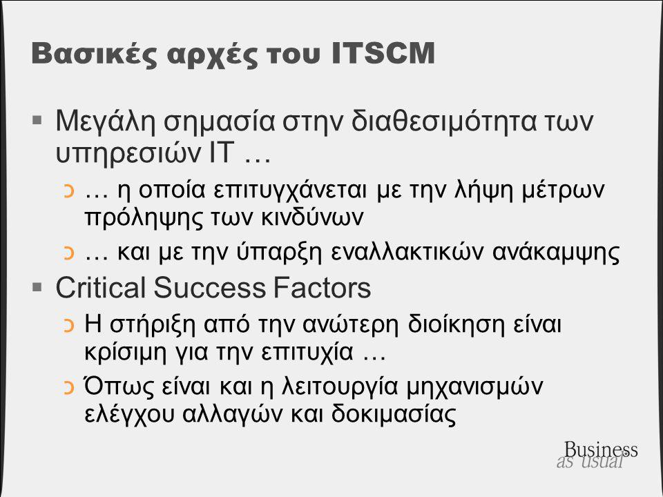 Βασικές αρχές του ITSCM  Μεγάλη σημασία στην διαθεσιμότητα των υπηρεσιών IT … כ… η οποία επιτυγχάνεται με την λήψη μέτρων πρόληψης των κινδύνων כ… κα