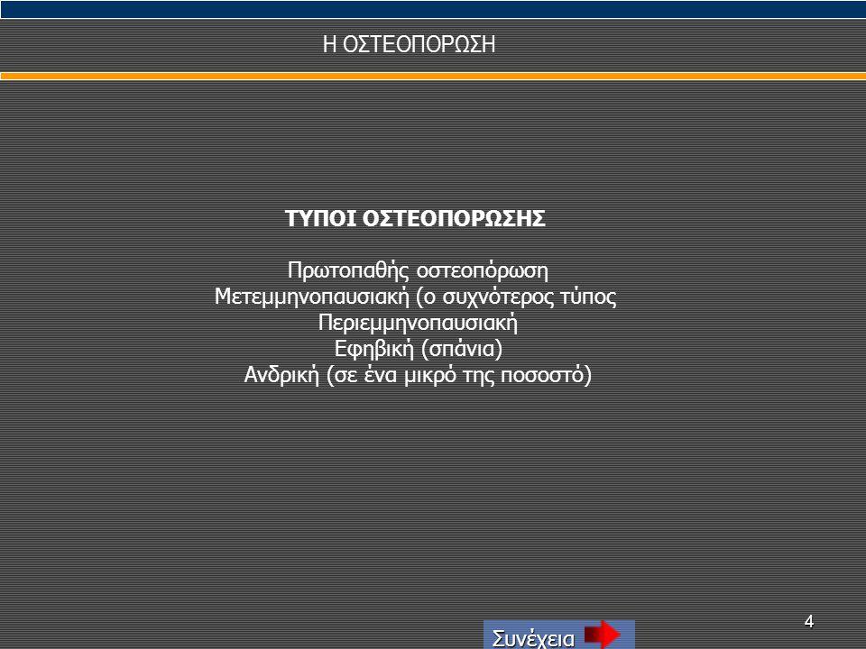 4 Η ΟΣΤΕΟΠΟΡΩΣΗ Συνέχεια ΤΥΠΟΙ ΟΣΤΕΟΠΟΡΩΣΗΣ Πρωτοπαθής οστεοπόρωση Μετεμμηνοπαυσιακή (ο συχνότερος τύπος Περιεμμηνοπαυσιακή Εφηβική (σπάνια) Ανδρική (