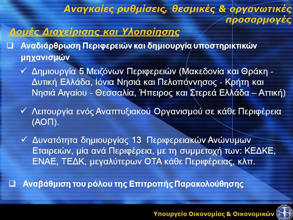 Υπουργείο Οικονομίας & Οικονομικών Αναγκαίες ρυθμίσεις, θεσμικές & οργανωτικές προσαρμογές  Αναδιάρθρωση Περιφερειών και δημιουργία υποστηρικτικών μηχανισμών Δομές Διαχείρισης και Υλοποίησης Δημιουργία 5 Μειζόνων Περιφερειών (Μακεδονία και Θράκη - Δυτική Ελλάδα, Ιόνια Νησιά και Πελοπόννησος - Κρήτη και Νησιά Αιγαίου - Θεσσαλία, Ήπειρος και Στερεά Ελλάδα – Αττική) Λειτουργία ενός Αναπτυξιακού Οργανισμού σε κάθε Περιφέρεια (ΑΟΠ).