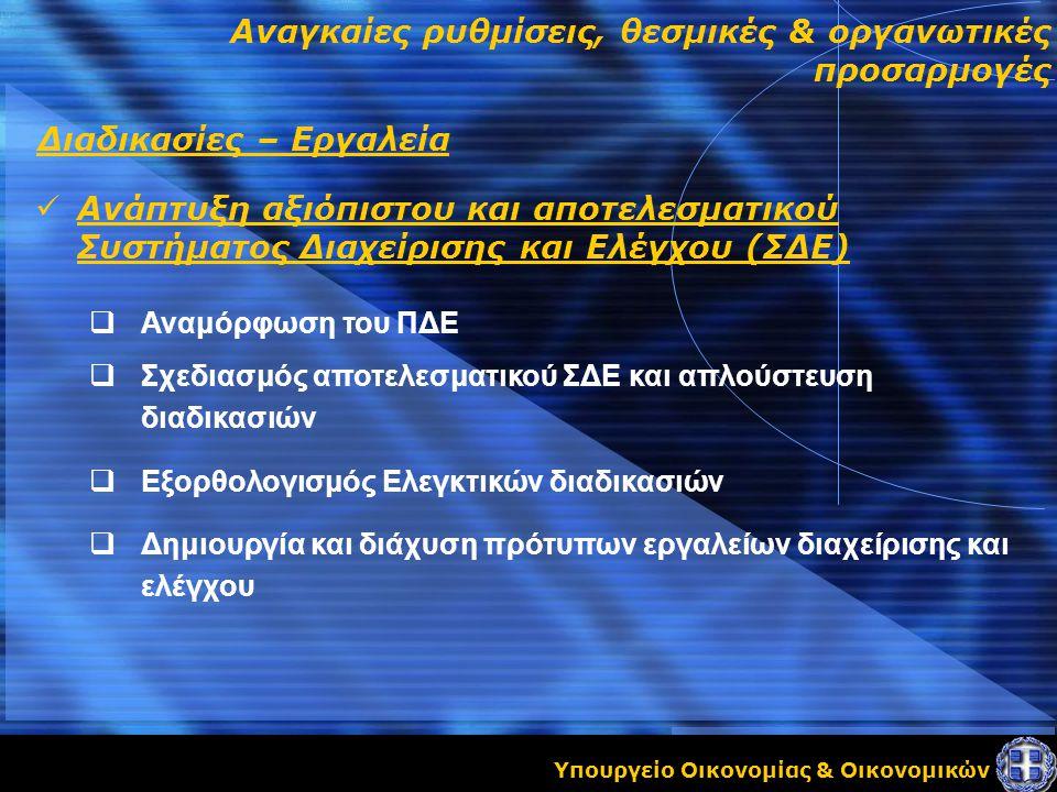 Υπουργείο Οικονομίας & Οικονομικών Αναγκαίες ρυθμίσεις, θεσμικές & οργανωτικές προσαρμογές Διαδικασίες – Εργαλεία Ανάπτυξη αξιόπιστου και αποτελεσματικού Συστήματος Διαχείρισης και Ελέγχου (ΣΔΕ)  Αναμόρφωση του ΠΔΕ  Σχεδιασμός αποτελεσματικού ΣΔΕ και απλούστευση διαδικασιών  Εξορθολογισμός Ελεγκτικών διαδικασιών  Δημιουργία και διάχυση πρότυπων εργαλείων διαχείρισης και ελέγχου
