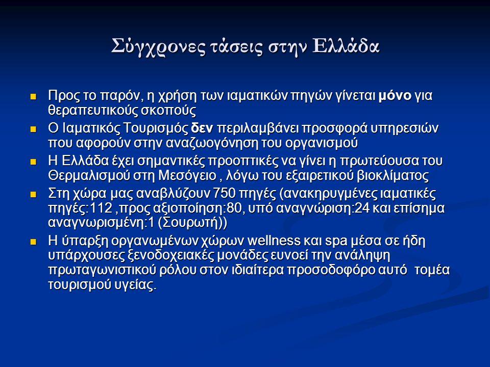 Σύγχρονες τάσεις στην Ελλάδα Προς το παρόν, η χρήση των ιαματικών πηγών γίνεται μόνο για θεραπευτικούς σκοπούς Προς το παρόν, η χρήση των ιαματικών πη