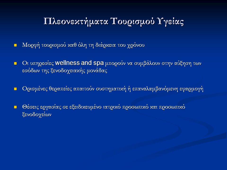 Πλεονεκτήματα Τουρισμού Υγείας Μορφή τουρισμού καθ όλη τη διάρκεια του χρόνου Μορφή τουρισμού καθ όλη τη διάρκεια του χρόνου Οι υπηρεσίες wellness and
