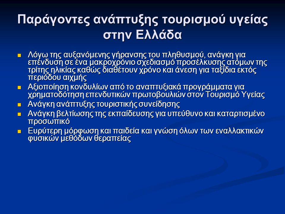 Παράγοντες ανάπτυξης τουρισμού υγείας στην Ελλάδα Λόγω της αυξανόμενης γήρανσης του πληθυσμού, ανάγκη για επένδυση σε ένα μακροχρόνιο σχεδιασμό προσέλ
