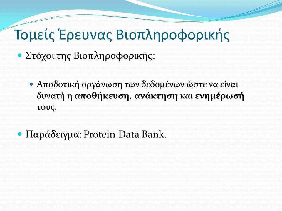 Τομείς Έρευνας Βιοπληροφορικής Στόχοι της Βιοπληροφορικής: Αποδοτική οργάνωση των δεδομένων ώστε να είναι δυνατή η αποθήκευση, ανάκτηση και ενημέρωσή