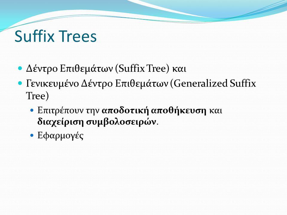 Suffix Trees Δέντρο Επιθεμάτων (Suffix Tree) και Γενικευμένο Δέντρο Επιθεμάτων (Generalized Suffix Tree) Επιτρέπουν την αποδοτική αποθήκευση και διαχε