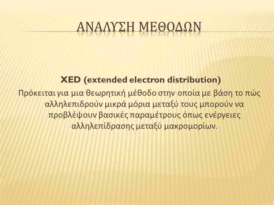 XED (extended electron distribution) Πρόκειται για μια θεωρητική μέθοδο στην οποία με βάση το πώς αλληλεπιδρούν μικρά μόρια μεταξύ τους μπορούν να προβλέψουν βασικές παραμέτρους όπως ενέργειες αλληλεπίδρασης μεταξύ μακρομορίων.