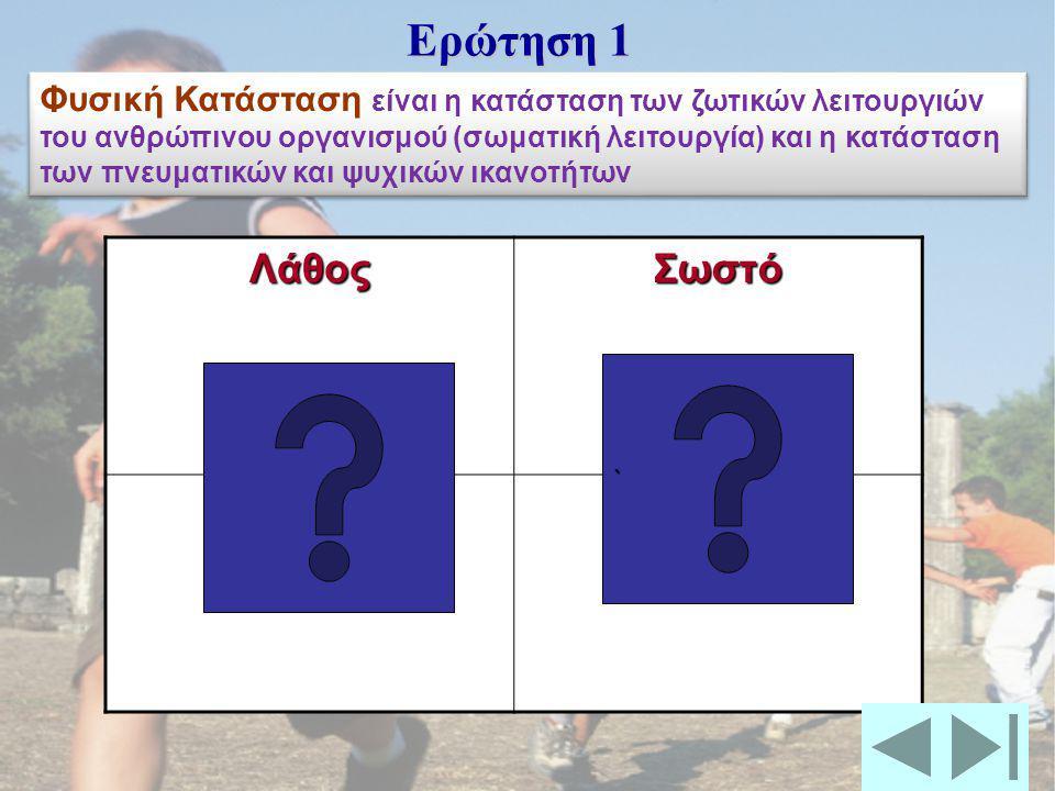 ΦΥΣΙΚΗ ΚΑΤΑΣΤΑΣΗ Βασίλης Γιωργαλλάς Καθηγητής Φυσικής Αγωγής Βασίλης Γιωργαλλάς Καθηγητής Φυσικής Αγωγής Ερωτήσεις Multiple choice