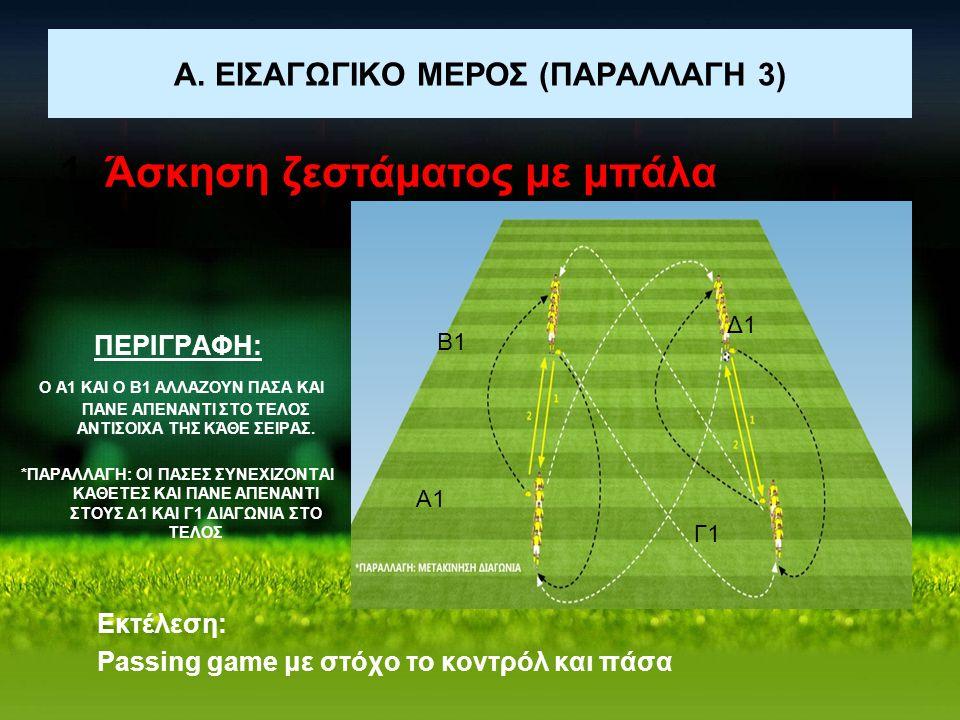 Α. ΕΙΣΑΓΩΓΙΚΟ ΜΕΡΟΣ (ΠΑΡΑΛΛΑΓΗ 3) 1. Άσκηση ζεστάματος με μπάλα Εκτέλεση: Passing game με στόχο το κοντρόλ και πάσα Α1 Β1 Γ1 Δ1 ΠΕΡΙΓΡΑΦΗ: Ο Α1 ΚΑΙ Ο
