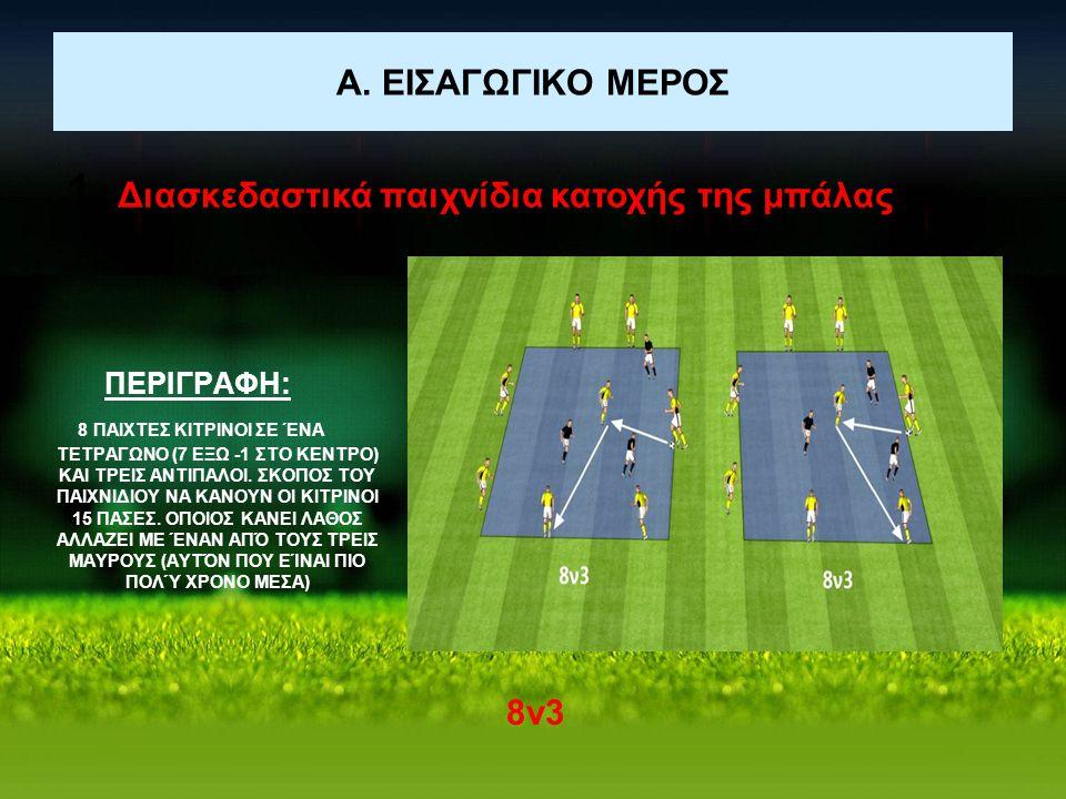 Α. ΕΙΣΑΓΩΓΙΚΟ ΜΕΡΟΣ 1. Διασκεδαστικά παιχνίδια κατοχής της μπάλας 8ν3 ΠΕΡΙΓΡΑΦΗ: 8 ΠΑΙΧΤΕΣ ΚΙΤΡΙΝΟΙ ΣΕ ΈΝΑ ΤΕΤΡΑΓΩΝΟ (7 ΕΞΩ -1 ΣΤΟ ΚΕΝΤΡΟ) ΚΑΙ ΤΡΕΙΣ Α
