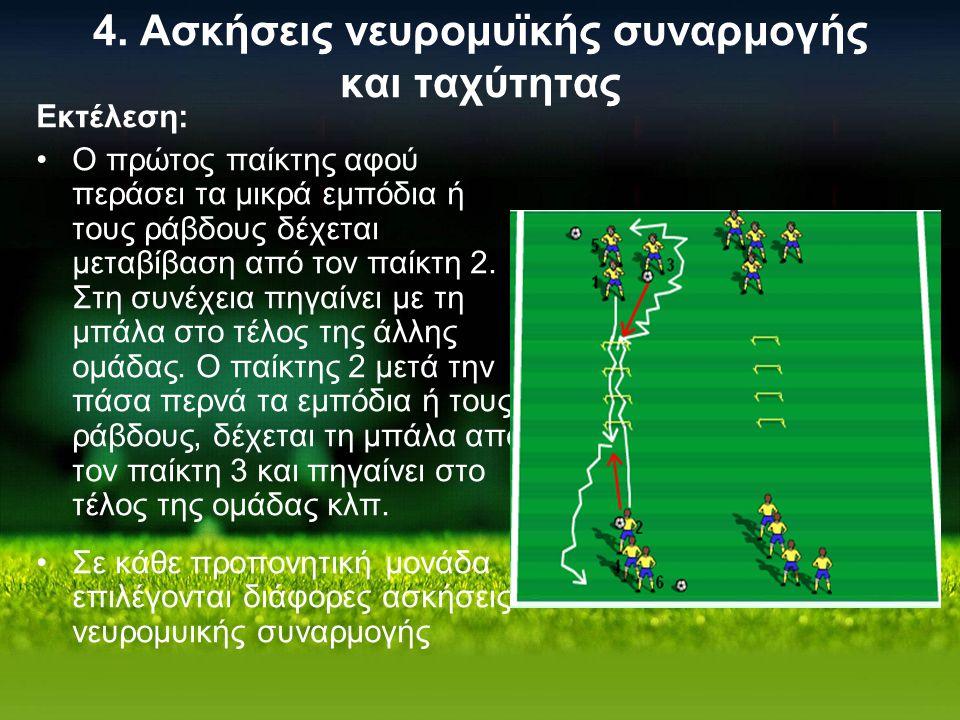 4. Ασκήσεις νευρομυϊκής συναρμογής και ταχύτητας Εκτέλεση: Ο πρώτος παίκτης αφού περάσει τα μικρά εμπόδια ή τους ράβδους δέχεται μεταβίβαση από τον πα