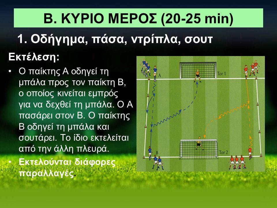 Β. ΚΥΡΙΟ ΜΕΡΟΣ (20-25 min) Εκτέλεση: Ο παίκτης Α οδηγεί τη μπάλα προς τον παίκτη Β, ο οποίος κινείται εμπρός για να δεχθεί τη μπάλα. Ο Α πασάρει στον