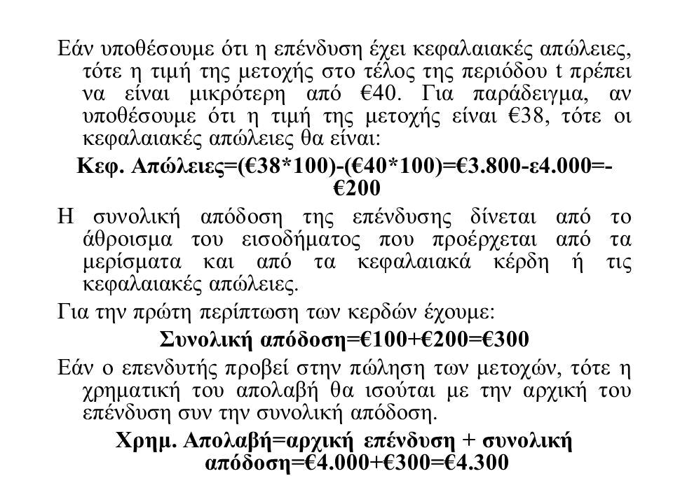 Εάν υποθέσουμε ότι η επένδυση έχει κεφαλαιακές απώλειες, τότε η τιμή της μετοχής στο τέλος της περιόδου t πρέπει να είναι μικρότερη από €40.