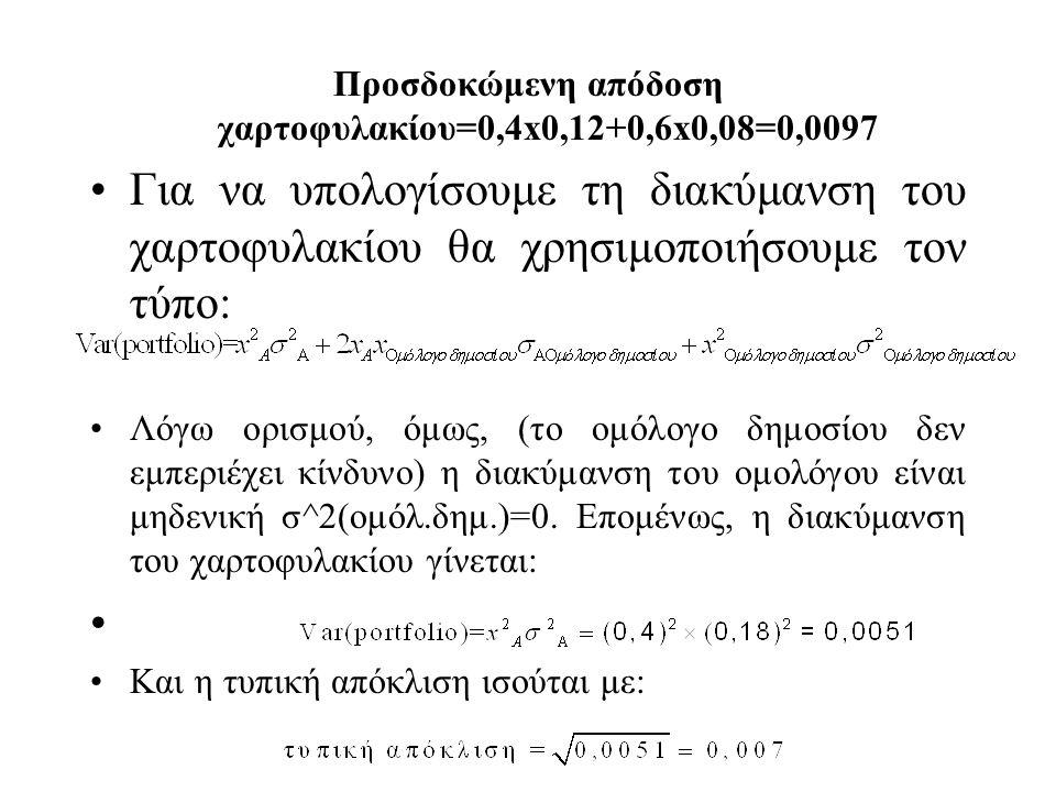 Προσδοκώμενη απόδοση χαρτοφυλακίου=0,4x0,12+0,6x0,08=0,0097 Για να υπολογίσουμε τη διακύμανση του χαρτοφυλακίου θα χρησιμοποιήσουμε τον τύπο: Λόγω ορισμού, όμως, (το ομόλογο δημοσίου δεν εμπεριέχει κίνδυνο) η διακύμανση του ομολόγου είναι μηδενική σ^2(ομόλ.δημ.)=0.