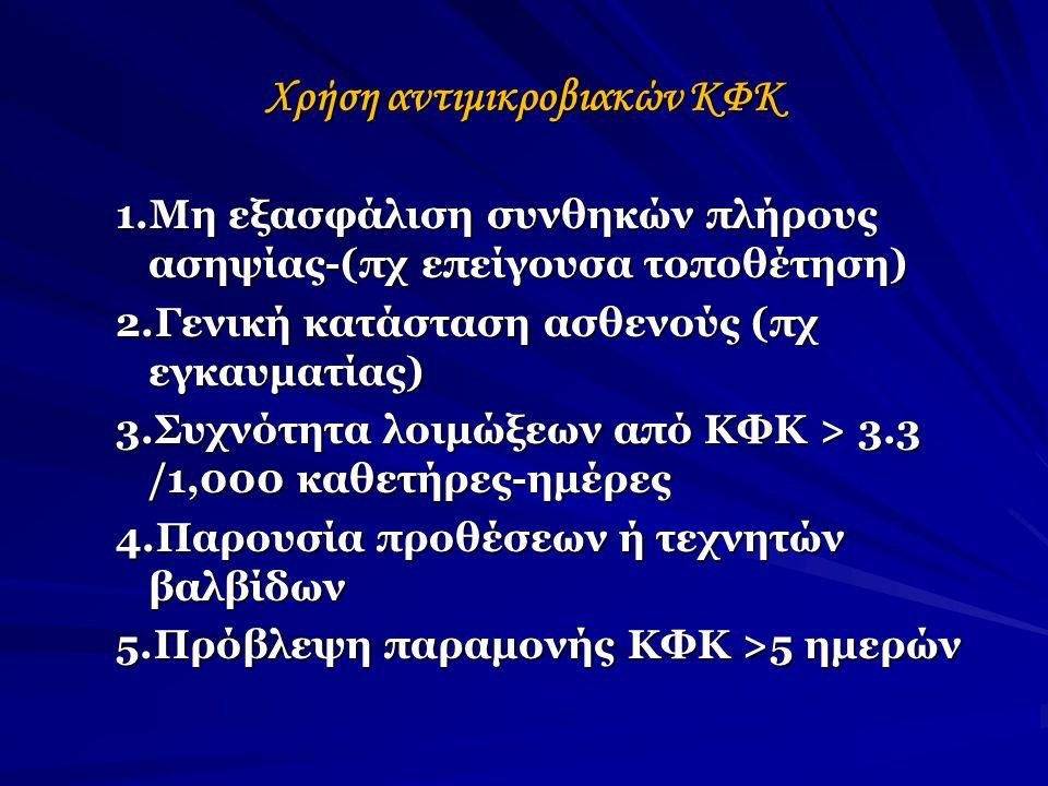 Χρήση αντιμικροβιακών ΚΦΚ 1.Μη εξασφάλιση συνθηκών πλήρους ασηψίας-(πχ επείγουσα τοποθέτηση) 2.Γενική κατάσταση ασθενούς (πχ εγκαυματίας) 3.Συχνότητα λοιμώξεων από ΚΦΚ > 3.3 /1,000 καθετήρες-ημέρες 4.Παρουσία προθέσεων ή τεχνητών βαλβίδων 5.Πρόβλεψη παραμονής ΚΦΚ >5 ημερών