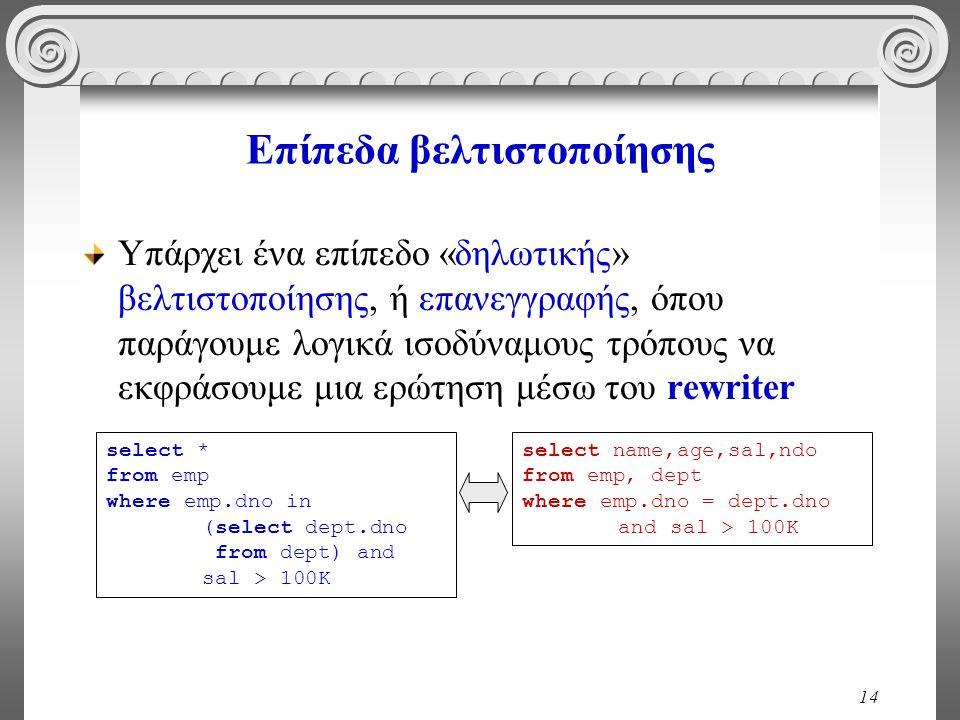 14 Επίπεδα βελτιστοποίησης Υπάρχει ένα επίπεδο «δηλωτικής» βελτιστοποίησης, ή επανεγγραφής, όπου παράγουμε λογικά ισοδύναμους τρόπους να εκφράσουμε μια ερώτηση μέσω του rewriter select * from emp where emp.dno in (select dept.dno from dept) and sal > 100K select name,age,sal,ndo from emp, dept where emp.dno = dept.dno and sal > 100K