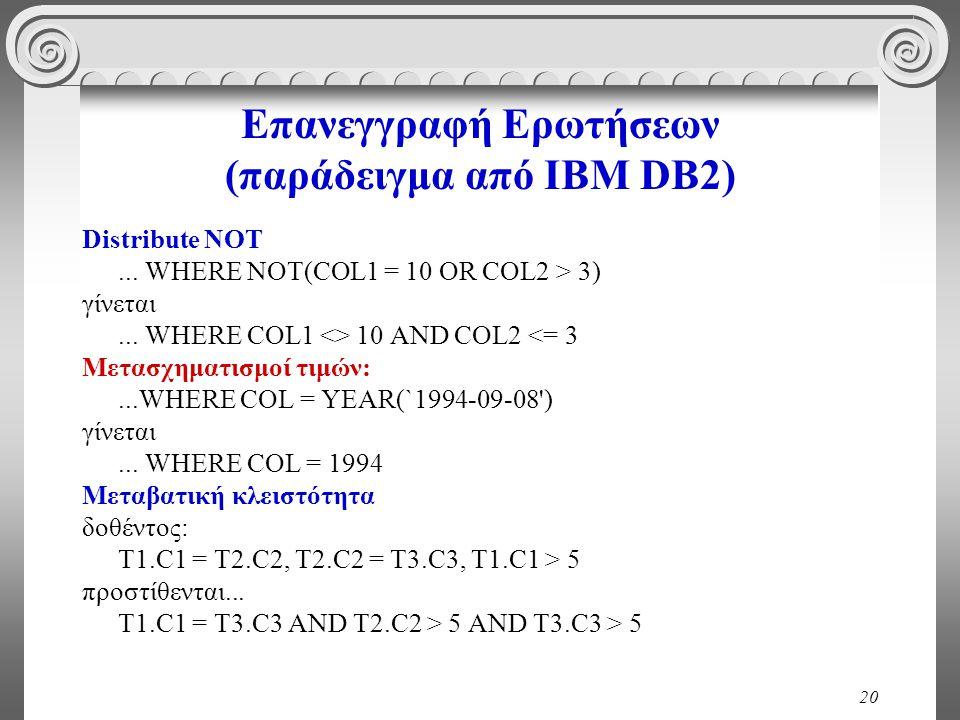 20 Επανεγγραφή Ερωτήσεων (παράδειγμα από IBM DB2) Distribute NOT... WHERE NOT(COL1 = 10 OR COL2 > 3) γίνεται... WHERE COL1 <> 10 AND COL2 <= 3 Μετασχη