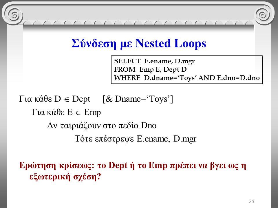 25 Σύνδεση με Nested Loops Για κάθε D  Dept [& Dname='Toys'] Για κάθε E  Emp Αν ταιριάζουν στο πεδίο Dno Τότε επέστρεψε E.ename, D.mgr Ερώτηση κρίσεως: το Dept ή το Emp πρέπει να βγει ως η εξωτερική σχέση.