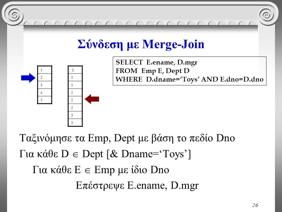 26 Σύνδεση με Merge-Join Ταξινόμησε τα Emp, Dept με βάση το πεδίο Dno Για κάθε D  Dept [& Dname='Toys'] Για κάθε E  Emp με ίδιο Dno Επέστρεψε E.ename, D.mgr SELECT E.ename, D.mgr FROM Emp E, Dept D WHERE D.dname='Toys' AND E.dno=D.dno 1 2 3 4 5 1 1 1 2 2 2 3 3