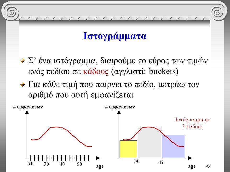 48 Ιστογράμματα Σ' ένα ιστόγραμμα, διαιρούμε το εύρος των τιμών ενός πεδίου σε κάδους (αγγλιστί: buckets) Για κάθε τιμή που παίρνει το πεδίο, μετράω τ