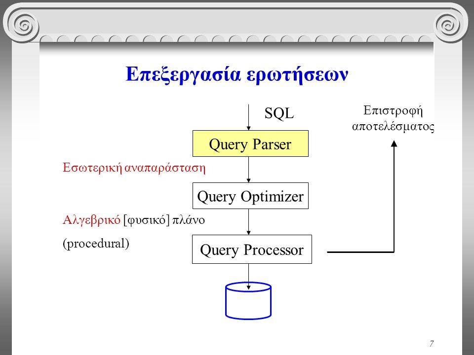 7 Επεξεργασία ερωτήσεων Query Parser Query Optimizer Query Processor SQL Εσωτερική αναπαράσταση Αλγεβρικό [φυσικό] πλάνο (procedural) Επιστροφή αποτελ