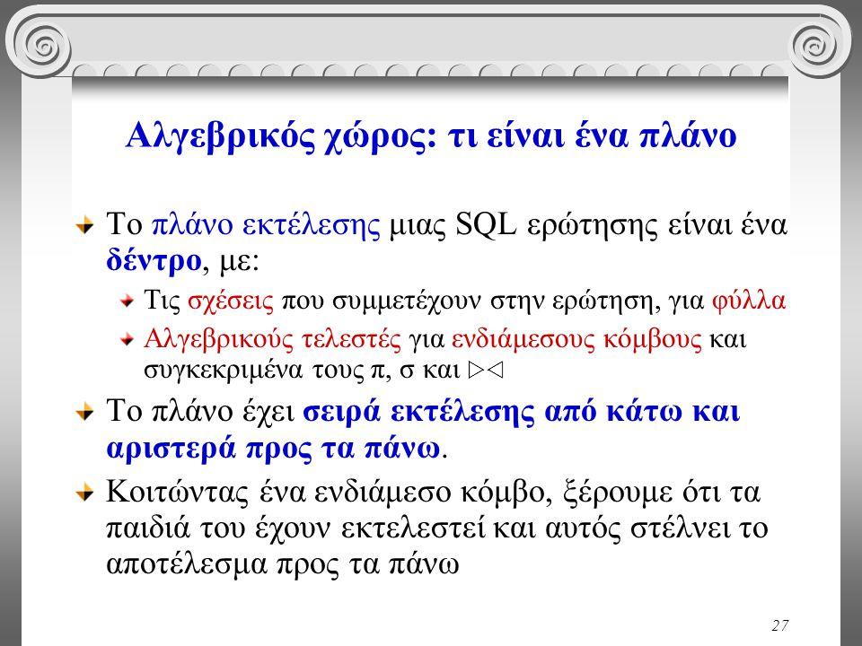 27 Αλγεβρικός χώρος: τι είναι ένα πλάνο Το πλάνο εκτέλεσης μιας SQL ερώτησης είναι ένα δέντρο, με: Τις σχέσεις που συμμετέχουν στην ερώτηση, για φύλλα